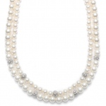 Mariell 2-Row Ivory Pearl Bridal Neck with CZ Balls