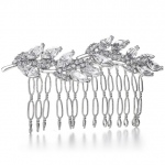 Mariell Prom Or Bridesmaids Comb with Crystal Leaves