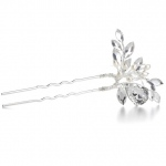 Mariell Freshwater Pearl Bridal Hair Pin with Crystals