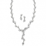Mariell Antique Etched Pear Rhinestone Necklace Set