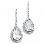 Mariell Large CZ Pear Drop Bridal Earrings with Pave Frame