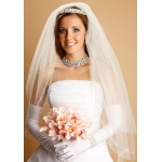 Bridal Veil with Pearls, Swarovski Crystals & Dainty Chain in Silver or Gold
