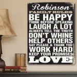 JDS JDS Personalized Canvas Print: Antique Style Personalized Family Rules