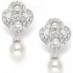 Mariell Art Deco Cubic Zirconia & Pearl Drop Wedding Earrings