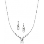 Mariell Dainty White Pearl & Crystal Bridal, Prom Or Bridesmaids Neck Set