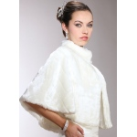 Mariell Faux Mink Pelted Fur Bridal Cape in White, Ivory Or Jet Black