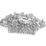 Mariell Regal Vintage Bridal Comb with Bold Crystal Center