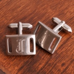 JDS Personalized Marlon Cufflinks: Brushed Silver