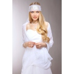Mariell Sheer Crinkle Eveningl Shawl with Scattered Crystals: White