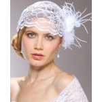 Mariell Juliet Bridal Cap with White Lace, Organza flower & Feather Hair Clip