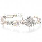 Mariell Designer Wedding Tiara Hair Vine Or Headband in Freshwater Pearls