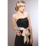 Mariell Champagne Double Sided French Satin Ribbon Sash