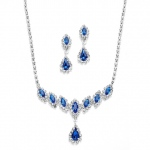 Mariell Royal Blue Rhinestone Necklace & Earrings Set