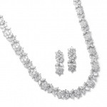 Mariell CZ Bridal Necklace with CZ Marquis Flowers