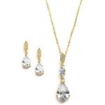 Mariell Bridal Necklace Set with Pave Top & Cubic Zirconia Pears