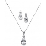 Mariell Bold Pear Solitaire Necklace and Earrings Set