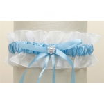 Mariell White Organza Something Blue Wedding Garter with Pearl Daisy