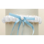Mariell White Satin Bridal Tossing Garter with Blue Ribbon & Pearls