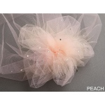 Mariell Tulle Birdcage Veil Bridal Cap with Side Pouf & Swarovski Crystals: Peach