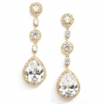 Mariell Best-Selling Pear-Shaped Drop Bridal Earrings with Gold Pave CZ: Clip On