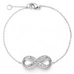 Mariell Delicate Rhodium Chain Wedding Bracelet with Cubic Zirconia Infinity Symbol