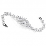 Mariell Cubic Zirconia Cluster Bridal Bracelet with Dainty Marquis Stones