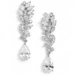 Mariell Pave CZ Bridal Earrings with Marquis Leaves & Pear Drop