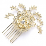 Mariell Top Selling Prom Or Wedding Crystal Spray Hair Comb in Gold