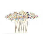 Mariell Best Selling Crystal Clusters Gold & AB Wedding Or Prom Comb