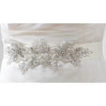 Mariell Breathtaking Handmade Sash of European Crystal Beaded Applique