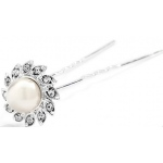 Mariell Popular Crystal & Soft Creme Pearl flower Bridal Hair Stick