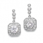 Mariell CZ Art Deco Tailored Wedding Earrings