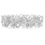 Mariell Crystal Ribbons Stretch Wedding Bracelet