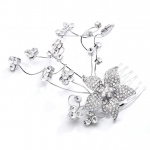 Mariell Crystal Floral Wedding Or Prom Hair Comb with Silver Vine