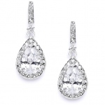 Mariell Classic Cubic Zirconia Bridal Earrings with Framed Pear Drops