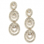 Mariell Concentric Ovals Gold Wedding Or Prom Earrings with Cubic Zirconia