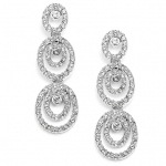Mariell Concentric Ovals Wedding Or Prom Dangle Earrings with Cubic Zirconia