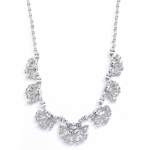 "Mariell Art Deco ""Fan"" Design Cubic Zirconia Wedding Necklace"