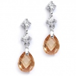 Mariell CZ Bridal Or Bridesmaids Earrings with Champagne Crystal Drops