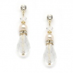 Mariell Crystal Teardrop Wedding, Prom Or Bridesmaids Earrings with Ivory & Gold