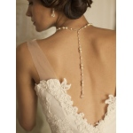 Mariell Alluring Wedding Back Necklace with White Pearls & Crystals