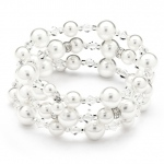 Mariell Adjustable Coil White Pearl Wedding Bracelet