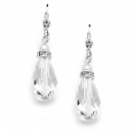 Mariell Euro Wire with Crystal Teardrop Bridal, Prom Or Bridesmaids Earrings