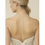 Mariell Top Selling Crystal & Pearl Back Necklace for Weddings & Proms