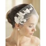 Mariell Ivory Tulle Bandeau Wedding Veil with Beaded Lace Applique