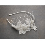 Mariell Luxurious Crystal Embellished Lace Wedding Headband with Wide Netting: Ivory