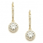 Mariell Delicate Cubic Zirconia Gold Pave Drop Bridal Earrings