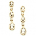 Mariell Breathtaking Gold Cubic Zirconia Dangle Wedding Or Bridal Earrings
