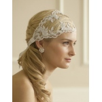 Mariell Split Lace Ribbon Wedding Headband with French Netting