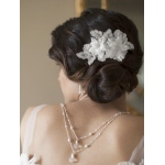 Mariell Sophisticated Handmade Bridal Comb with White Beaded Floral Lace Applique